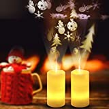 Tpingfe LED Candle Light Flameless Projection Flickering Remote Control Christmas Decor, 1pc (A)
