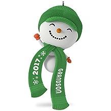 Hallmark Keepsake 2017 Cute Snowman Grandson Dated Christmas Ornament