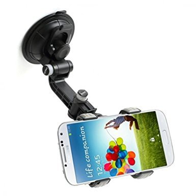 Rotating Car Mount Dash Windshield Glass Holder Dock for All Smartphones - iPhone 6 6S, Plus, 5S 5C - Samsung Galaxy Note 5 4 3 2, S7, Edge Edge+, S6 S5 S4 S3 - LG V10, G3, G4, G5, K7 - Droid Turbo - Safe T Ii Steering