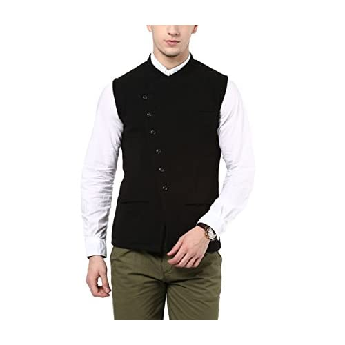 41LSrkIgJqL. SS500  - Hypernation Black Color Cotton Casual Waistcoat