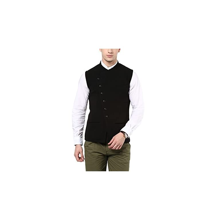 41LSrkIgJqL. SS768  - HYPERNATION Black Color Cotton Casual Waistcoat