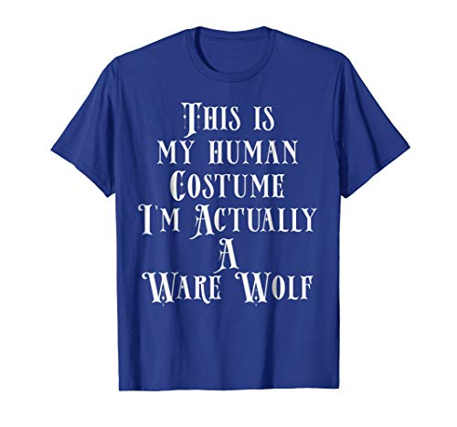 Mens My Human Costume - Ware Wolf Shirt Girls Boys Evil Animals Small Royal Blue -