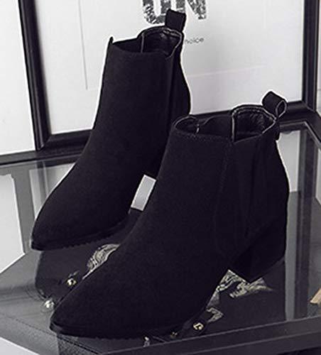 Aisun Mode Bottines Chunky Travail Talon Noir Style Angleterre Femme Chelsea rTxPRr