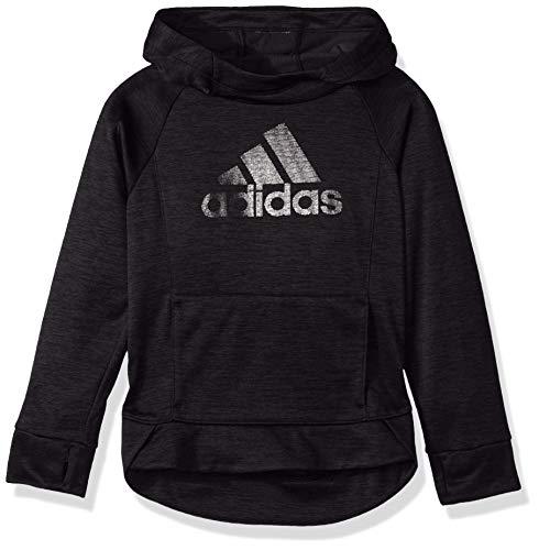 adidas Girls' Big Pullover Sweatshirt, Black Heather, M (10/12)