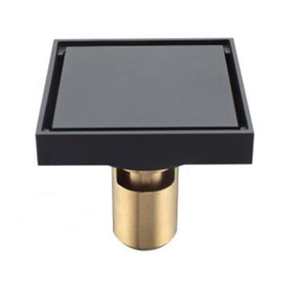 PEIQI Shower Floor Drain Removable Cover 4'' Tile Insert Copper Floor Drainer Kitchen Washroom Garage Basement,Deepwater