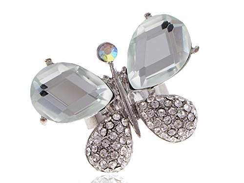 Abstract Butterfly Artsy Crystal Rhinestone Wing Encrusted Costume Adjust Ring