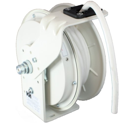 Series Power Cord Reel - KH Industries RTB Series ReelTuff Power Cord Reel, 12/3 SJOW White Cable, 20 Amp, 25' Length, White Powder Coat Finish