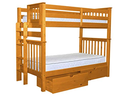 Cheap Bedz King Tall Bunk Beds Twin over Twin Mission Style with End Ladder and 2 Under Bed Drawers, Honey