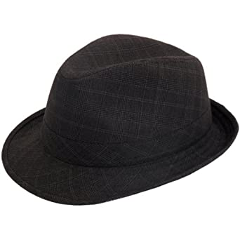Hawkins Hats Classic ska suit check grey trilby hat (57cm)  Amazon ... f00623ef1a3