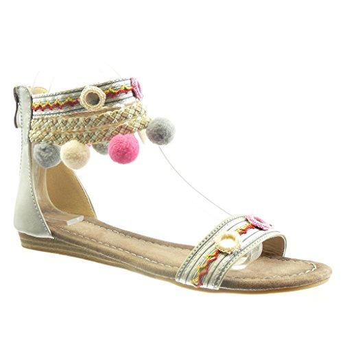 Angkorly - Zapatillas de Moda Sandalias abierto mujer pompom multi-correa trenzado Talón Tacón ancho 1.5 CM - Blanco