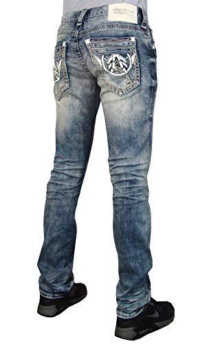 Affliction Men Jean - American Fighter Legend Battle Frazier Slim Straight Denim Jeans Pants for Men by Affliction