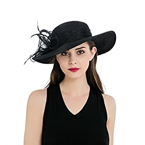 Dantiya Women's Organza Wide Brim Floral Ribbon Kentucky Derby Church Dress Sun Hat