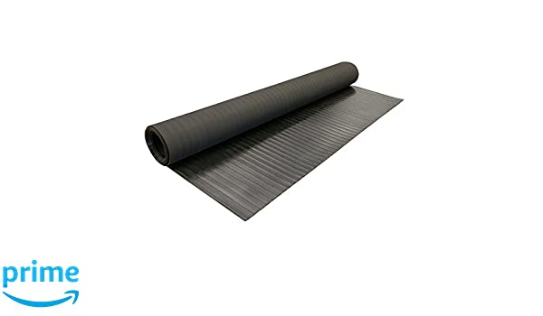 """3/' Width  1//4/"""" thick  Ribbed Rubber Runners Matting Black Choose Size"""