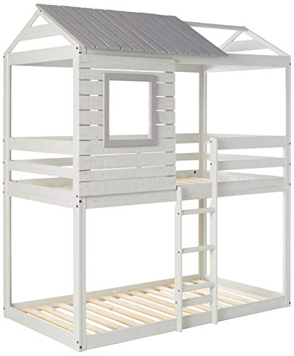 Donco Kids Deer Blind Bunk Loft Bed, Twin/Twin, Light Grey