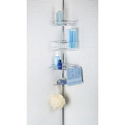 Richards Homewares 4 Tier Shower Bathtub Corner Tension Pole - Chrome Finish - Stainless Steel Baskets - Easy Assembly (Tension Tower)