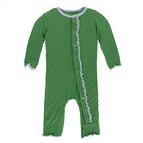 Kickee Pants Little Girls Solid Muffin Ruffle Coverall with Snaps - Fern with Spring Sky, 12-18 Months ()