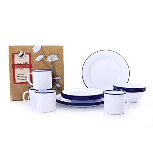 Enamelware Starter Set, 16 piece, Vintage White/Blue (Enamelware Table Set)