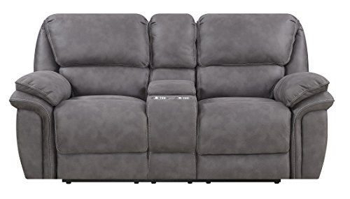 MStar Jackson Lay Flat Dual Reclining Loveseat with Storage Console, USB Charging Ports, AC Outlets and Memory Foam Seat (Ac Furniture Loveseat)
