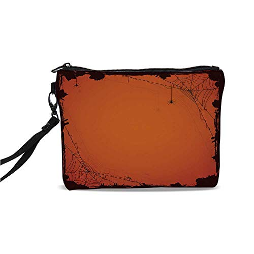 Spider Web Simple Cosmetic Bag,Grunge Halloween Composition Scary Framework with Insects Abstract Cobweb for Women,9