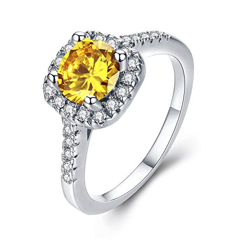UFOORO White Gold Plated Yellow CZ Crystal Square Simulated Diamond Engagement Ring Promise Rings for Women (Yellow-W, 8) (Crystal Yellow Ring)