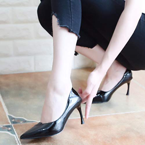 Nine Apricot Autumn Heel Sharp Sexy Thin Women'S High Lacquer Thirty 7Cm Shoes KPHY Color Head Thin Simple Shoes And Shallow Shoes dUxwX4x