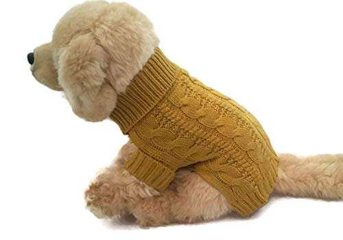 Le Petit Chien Small Dog Puppy Cable Knit Sweater (X-Large, Mustard)