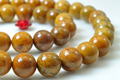 - jennysun2010 Natural Yellow Petrified Wood Jasper Gemstone 10mm Smooth Round Loose 40pcs Beads 1 Strand for Bracelet Necklace Earrings Jewelry Making Crafts Design Healing
