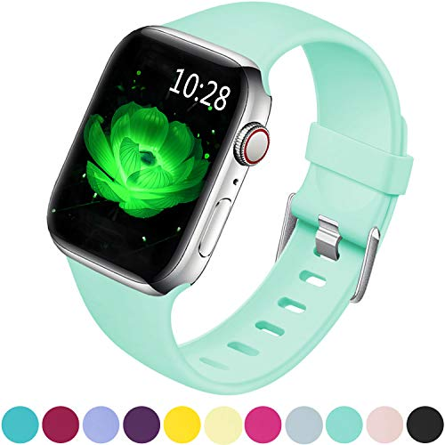 Band Mint - Laffav Sport Band Compatible with Apple Watch 40mm 38mm, Soft Strap Replacement Bands Compatible with iWatch Apple Watch Series 4 3 2 1, Mint Green, S/M