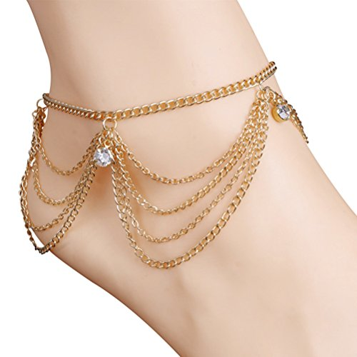 2 Pieces Multilayer Tassel Fringes Anklet Bracelet Tassel Barefoot Sandals Foot Jewelry - Fringe Chain