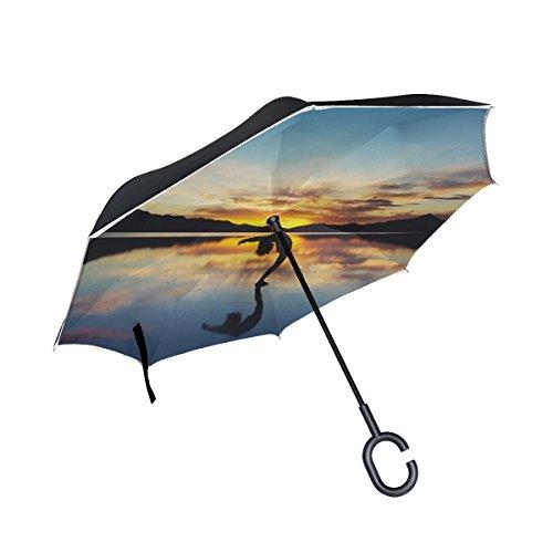 RH Studio Inverted Umbrella Yoga Silhouette Lake Large Double Layer Outdoor Rain Sun Car Reversible Umbrella by RH Studio