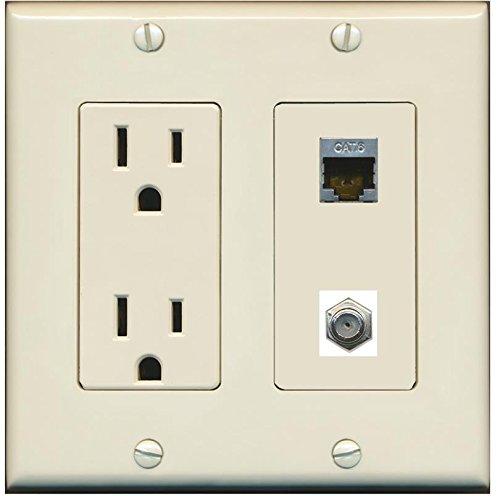 (RiteAV - (2 Gang Decorative 15A Power Outlet Coax Shielded Cat6 Wall Plate Light Almond)