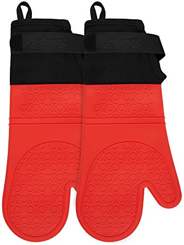 RoomyRoc Silicone Oven Mitts with Adjustable Cuff, Oven Mitt with Non-Slip Grip and Thicker Liner, Heat Resistant Pot Holders, Extra Long Professional Flexible Oven Gloves, 1 Pair, 14.7 Inch
