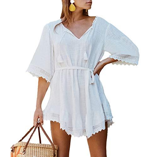 Saherewanr Women Swimsuit Cover Up Dress Lace Long Bathing Kimono Beach-wear Crochet Stripe Cardigan Maxi Skirt