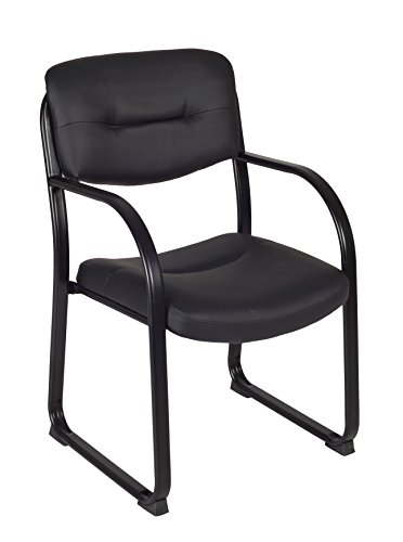 Regency Crusoe Leather Guest Chair with Arms, Black (Leather Reception Faux)
