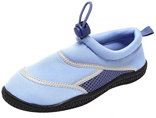 NEOPREN Aquaschuhe Badeschuhe Kinderbadeschuhe Schwimmschuhe Wasserschuhe Slipper Strandschuhe Badepantoletten Unisex Kinder Mädchen Jungen blau
