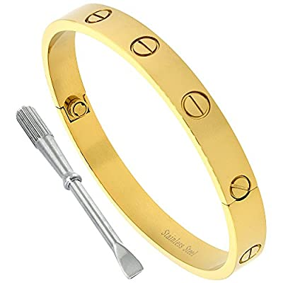 Stainless Steel Screw Head Bangle Bracelet for Women Oval Gold tone 7mm wide, fits 6.5 -7.75 inch wrists