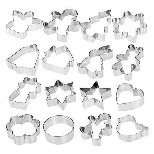 Esonmus 16pcs/set Multifunctional Christmas 304 Stainless Steel Cookie Cutters Heart Gingerbread Man Snowflake Star Shaped DIY Fondant Cake Decoration Molds Fruit Chocolate ()