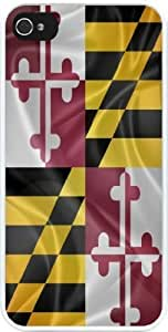 Rikki KnightTM Maryland State Flag Design iPhone 4 & 4s Case Cover (White Rubber with bumper protection) for Apple iPhone 4 & 4s