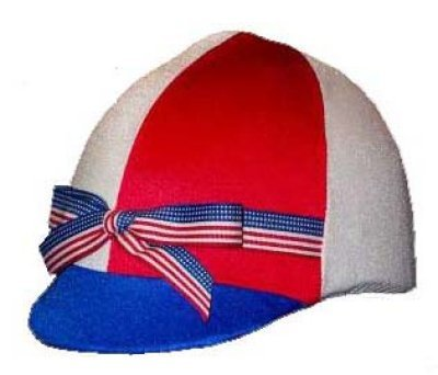 Equestrian Riding Helmet Cover - Red White andRoyal Blue with Flag Ribbon Helmet Covers Etc.