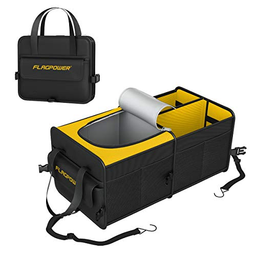 5ce68f4a FLAGPOWER Car Trunk Organizer Collapsible Portable Cargo Storage Organizer  with Insulated Cooler Compartments Tie Down Straps for SUV, Truck, ...