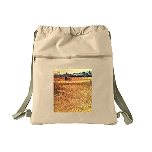 Wheat Field With A View Arles (Van Gogh) Canvas Dyed Sack Backpack Bag (Canvas Arles)