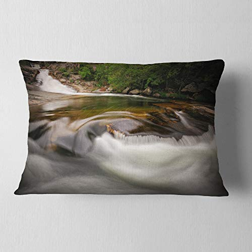 Designart CU9451-12-20 Segade Waterfall Galicia Spain' Landscape Photo Throw Lumbar Cushion Pillow Cover for Living Room, Sofa, 12 in. x 20 in, Pillow Insert + Cushion Cover Printed on Both Side by Designart