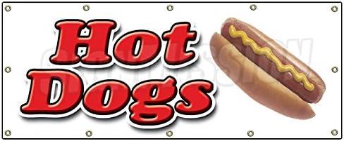 Springster L Outdoor Sidewalk Hot Dog Banner Signs for Restaurant Red