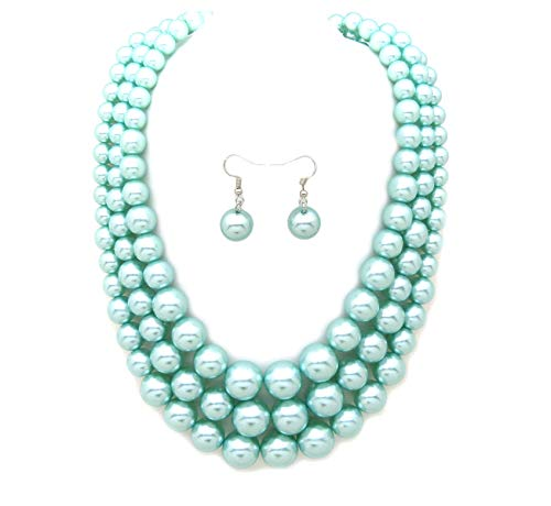 Women's Simulated Faux Three Multi-Strand Pearl Statement Necklace and Earrings Set (Pale Turquoise)