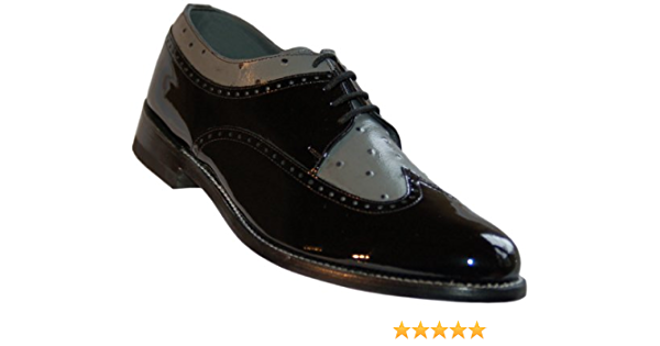 Stacy Baldwin Black White Wingtip Spectator Vintage Style Two Tone Leather Shoes with Leather Soles