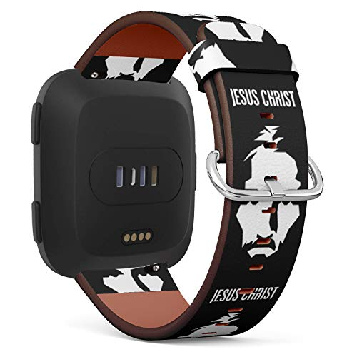 - Replacement Leather Strap Printing Wristbands Compatible with Fitbit Versa - Jesus Christ Portrait