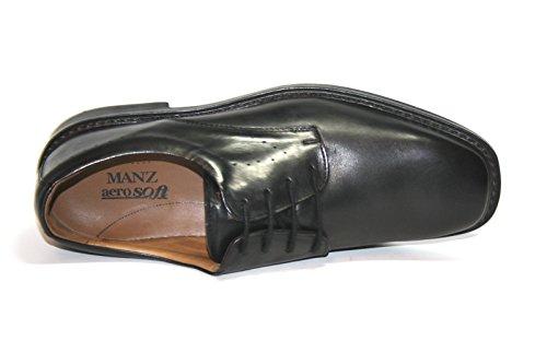 Manz - Zapatos de Cordones de cuero Hombre negro - Noir - Schwarz (schwarz 001)