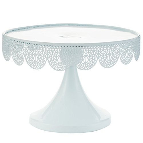 handrong Decorative Cake Stand Cupcake Pedestal with Hollow Pattern Rims Dessert Fruit Display Serving Plate for Wedding Birthday Party Christmas Holiday Favor, 9.5 Inch Round Iron Metal