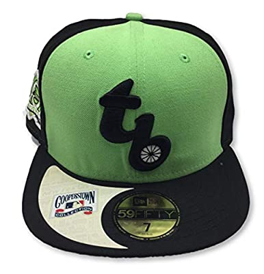 Genuine Merchandise Tampa Bay Rays Fitted Size Cooperstown Collection 10 Years Patch Lime Green & Black Hat Cap