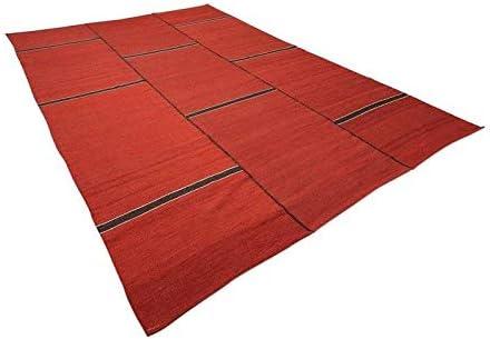 ZIGLER Alfombras Originales Kilim Contemporáneo. Diseño con Lineas. Rojo, Marrón. 4,05 x 3,00 m: Amazon.es: Hogar
